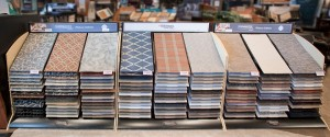 Our carpet showroom display of patterned carpet selections