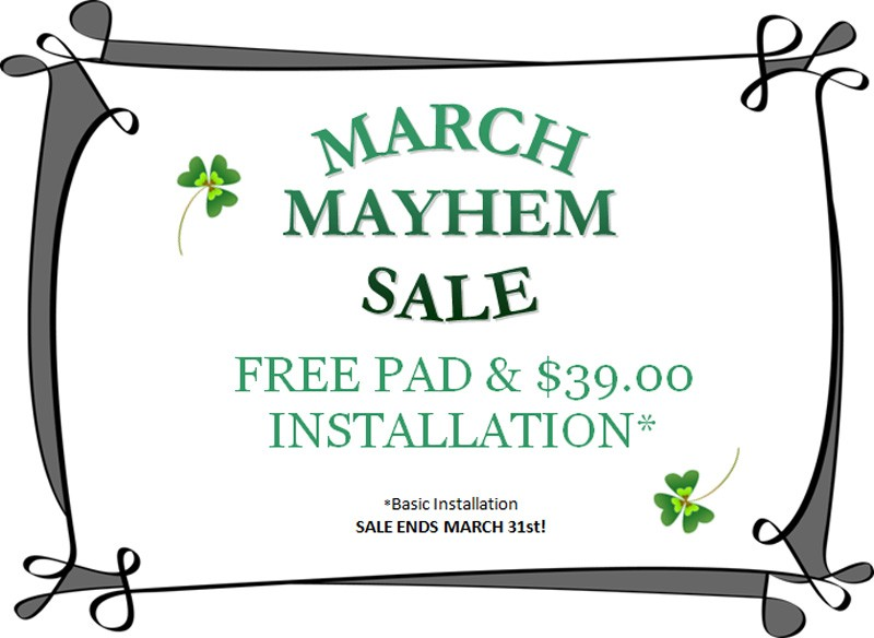 Free carpet pad and $39 basic installation for March Mayhem - shamrocks