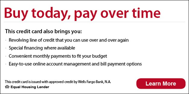 Buy today, pay over time - revolving line of credit, monthly payments learn more