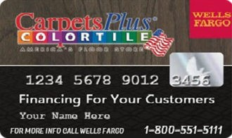 Wells Fargo ColorTile credit card for 12 month financing