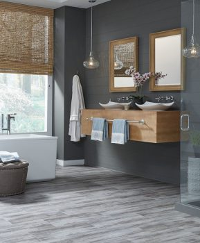 Bathroom scene - example use of Wood Plastic Composite LVP Flooring