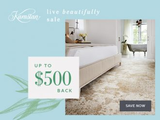 Get an instant savings up to $500 qualifying purchase of Karastan carpet