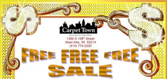 Dollar signs and title free free free sale plus logo and West Allis Milwaukee address