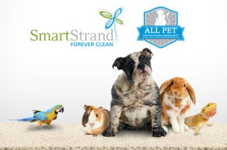 SmartStrand Forever Clean logo, All Pet protection warranty badge and with animals lined up on carpet
