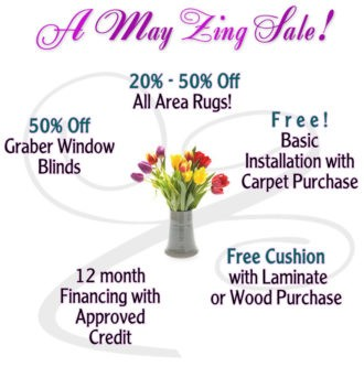 May flooring sale %off and freebies