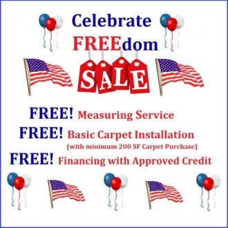 free measuring, free basic carpet install, free financing with approval